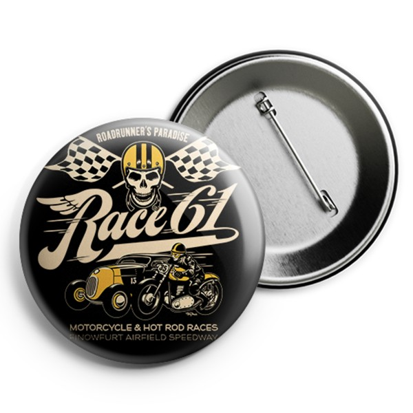 Race 61 Button Motorcycle and Hot Rod Race 2,5cm