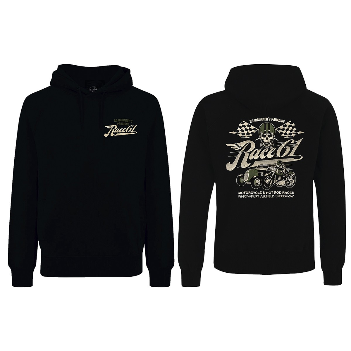 Race 61 Hoodie Motorcycle and Hot Rod Races mit Stick