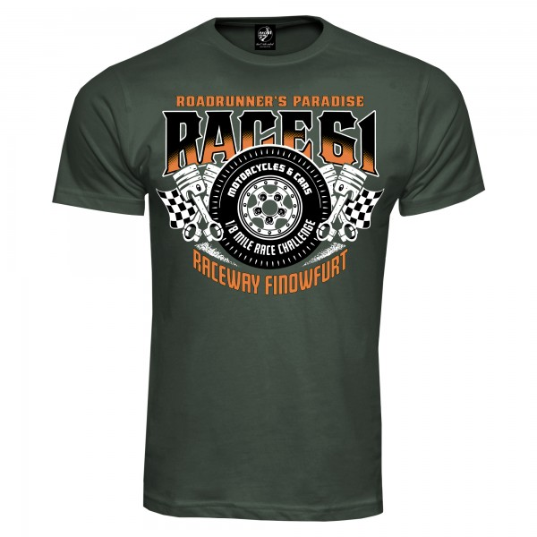 Race 61 T-Shirt 1/8 Mile Race Challenge Khaki