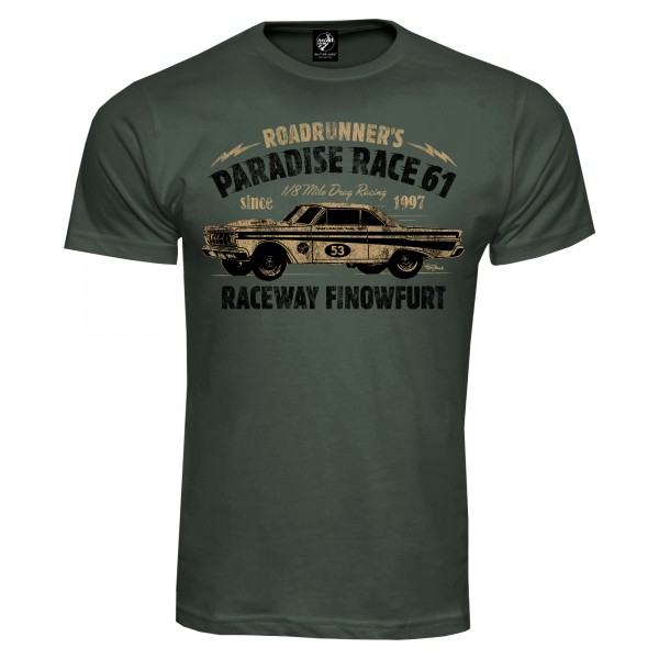 Race 61 T-Shirt 1/8 Mile Drag Racing 53 Khaki