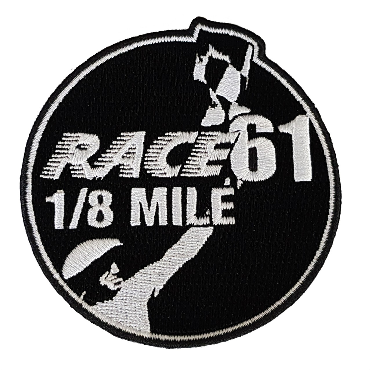 Race 61 Patch 100% gestickt mit 1/8 Mile Logo