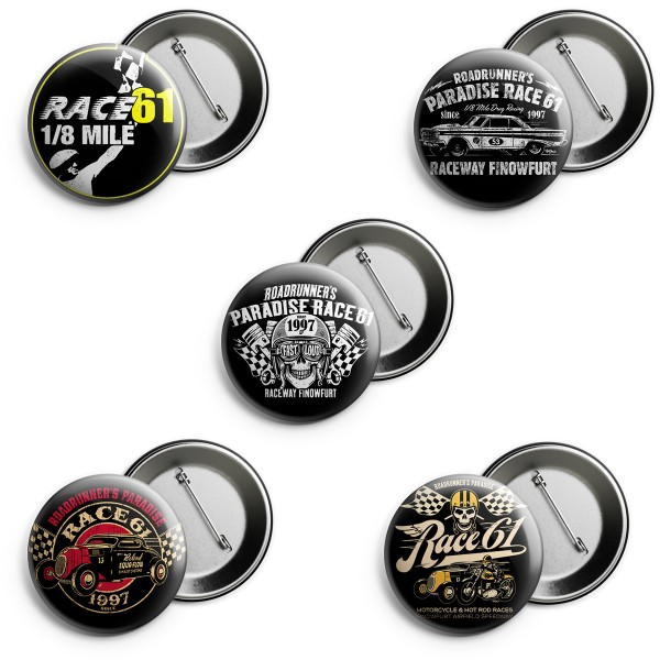 Race 61 5er Button Set-3 2,5cm