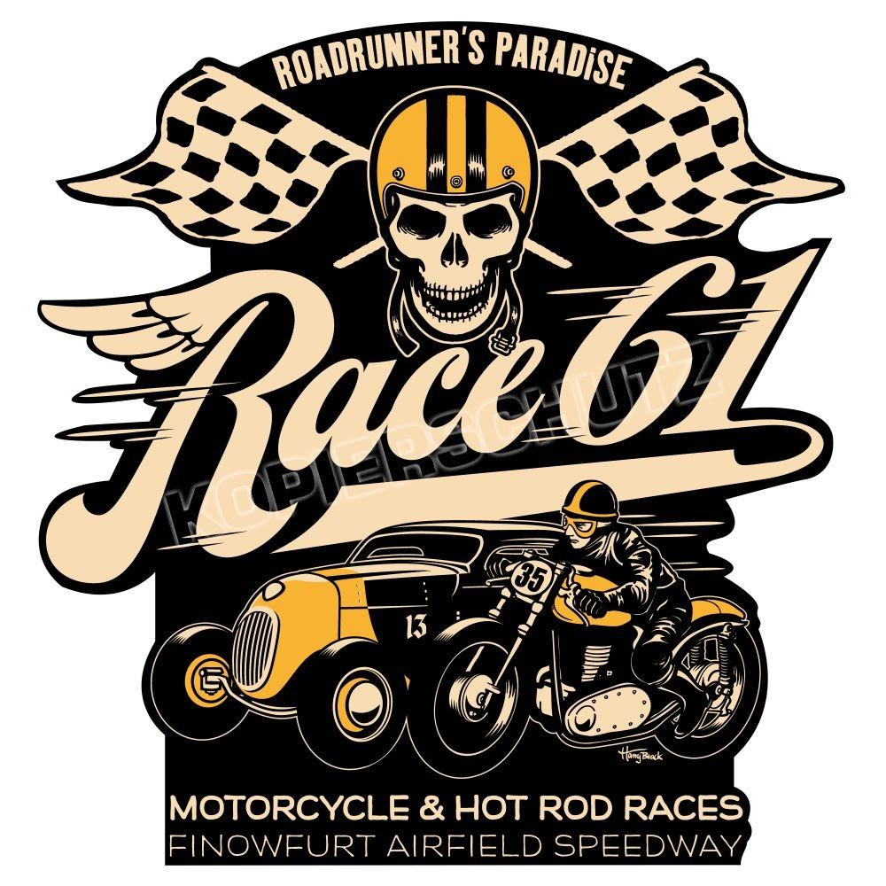 Race 61 Aufkleber Sticker Motorcycle & Hot Rod Race
