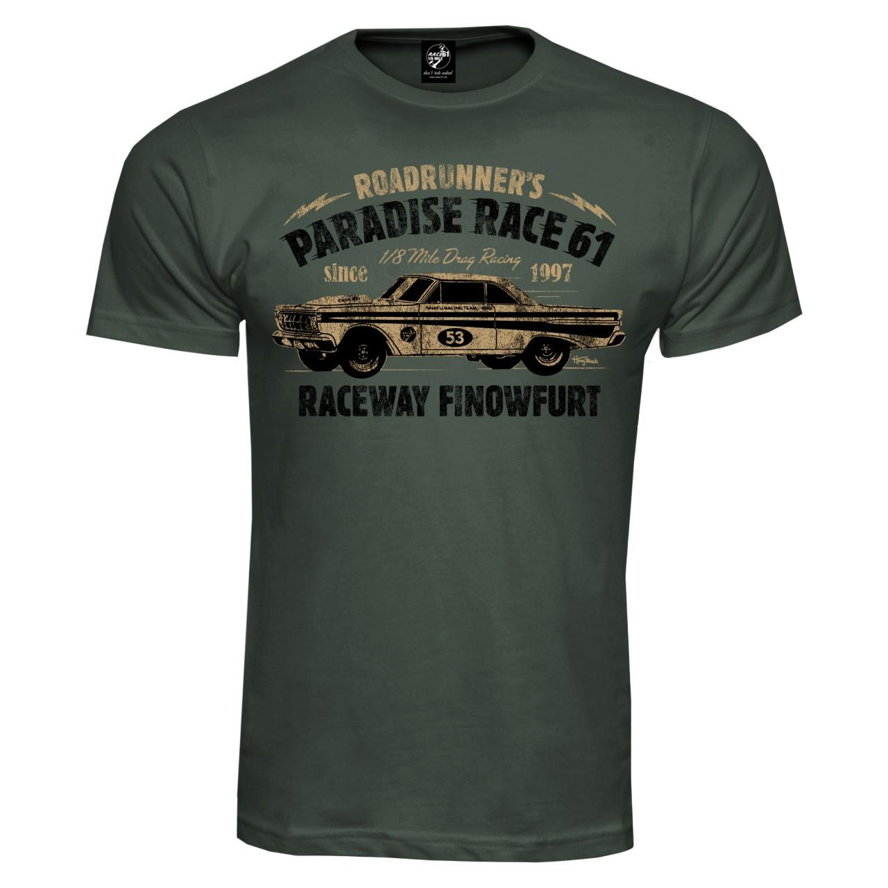Race 61 T-Shirt 1/8 Mile Drag Racing 53 Khaki